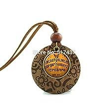Pretty Lee New Design Wooden Pendant Necklace Ouija Board Pendant Ouija Board Jewelry Glass Cabochon Necklace Pendant