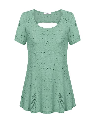 Green Tee T-shirt Top - Becanbe T-Shirt Tops for Women,Women's Comfort Short Sleeve T-Shirt Elastic Lightweight Workout Yoga Tee Shirt Tops(Green,Medium)