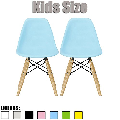 2xhome - Set of Two (2) - Blue - Kids Size Eames Side Chairs Eames Chairs Blue Seat Natural Wood Wooden Legs Eiffel Childrens Room Chairs No Arm Arms Armless Molded Plastic Seat Dowel (Charles Desk Chair)