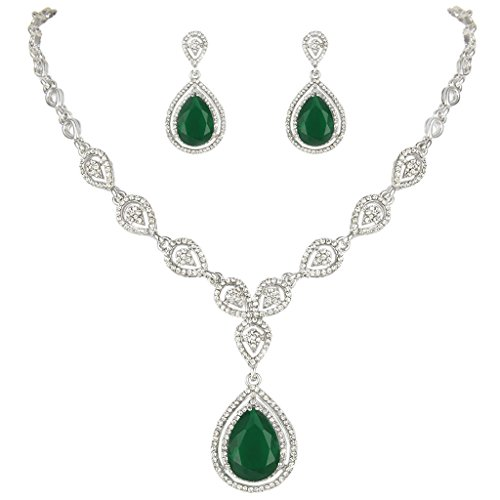 EVER FAITH Austrian Crystal Zircon Wedding Teardrop Necklace Earrings Set Emerald Color Silver-Tone ()