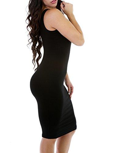 sin sexy para la rodilla Black de Rojeam hasta verano Vestido mangas mujer mangas sin ZwqYfvUP