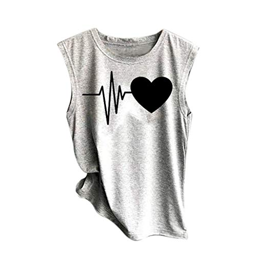 (Sunhusing Women's ECG Heart Print Sleeveless Vest Solid Color T-Shirt Top Casual Sport Shirt)