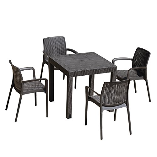 Outsunny 5 Piece All Weather Rattan Style Wicker Outdoor Patio Dining Set - Brown