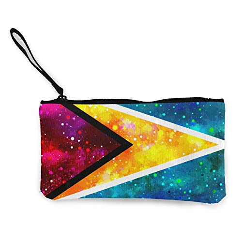 - Guyana Starry Flag Coin Purse Travel Makeup Pencil Pen Case With Handle Cash Canvas Zipper Pouch 4.7
