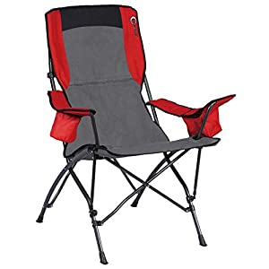Portal High Back Camping Chair Folding Portable Quad Oversized Arm Chairs with Cup Holder and Carry Bag, Support 300lbs