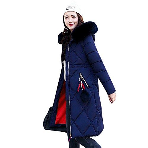 Larga marino Abrigo Miugee Manga azul Mujer para THWaxq
