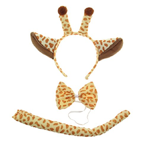 Kids Giraffe Costume Headband Ears Tail Safari Dressup Costume Set