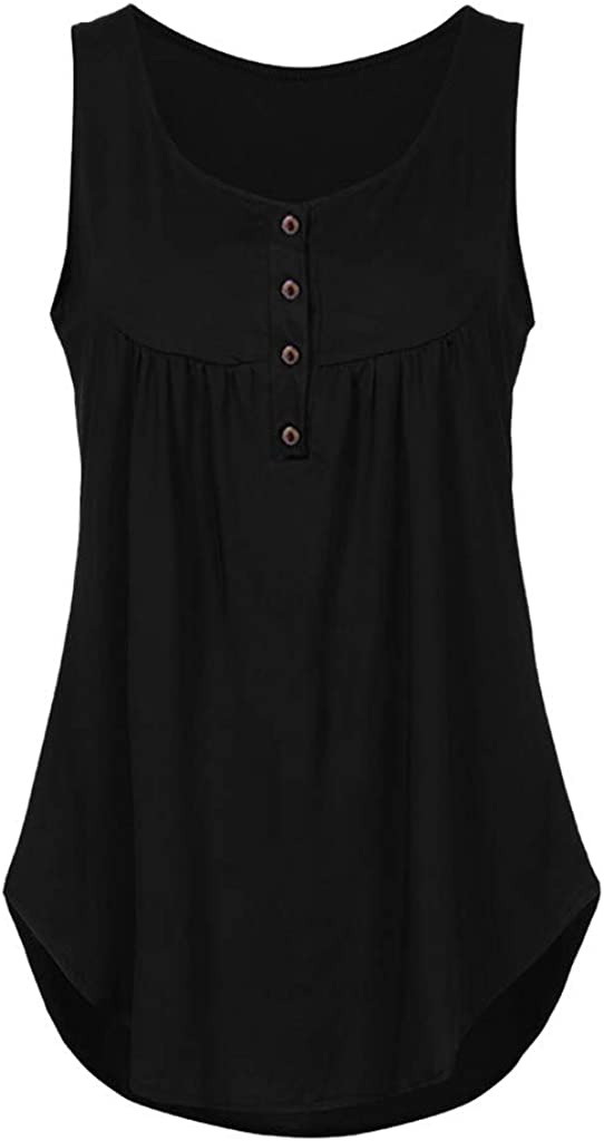 Onegirl Womens Solid V-Neck Sleeveless Tunic Vest Swing Shirts Loose Hem Flowy Tank Tops Blouse