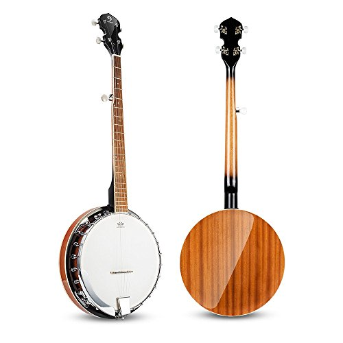 Vangoa 5 String Banjo Remo Head Closed Solid Back with beginner Kit, Tuner, Strap, Pick up, Strings, Picks and Bag by Vangoa (Image #2)