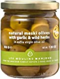 Les Moulins Mahjoub Natural Meski Olives with Garlic & Wild Herbs - 12 Pack (200g)