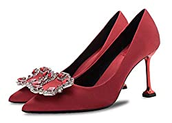 Red Rhinestone Closed Pointed Toe Stilettos High Heel Slip-on
