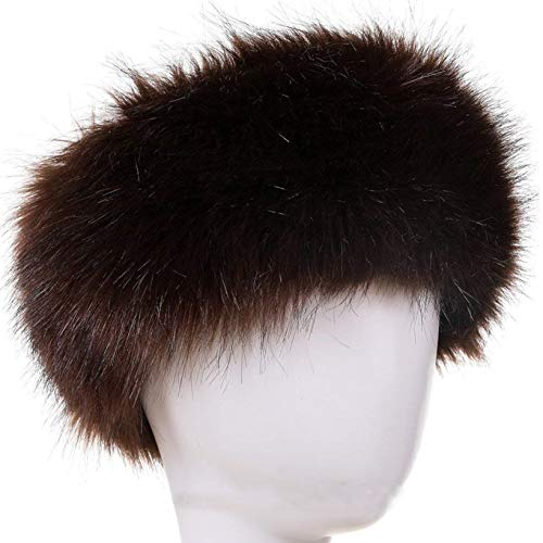 FAITH YN Faux Fur Headband with Elastic Stretch Women Fur Hat Winter Ear Warmer Earmuff Ski Cold Weather Caps [Brown]