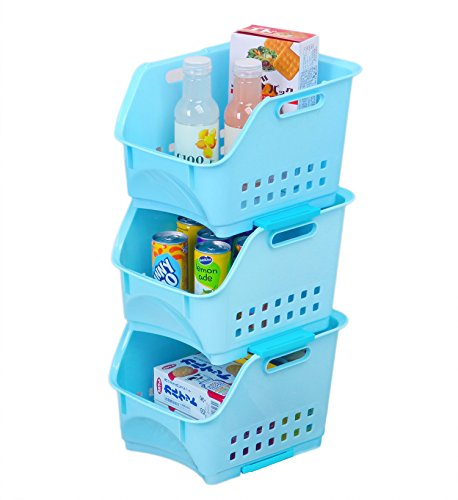 Set of 3 Scoop Stackable Plastic Storage Baskets/Stacking Bins Organizer with Handles,Blue,Honla