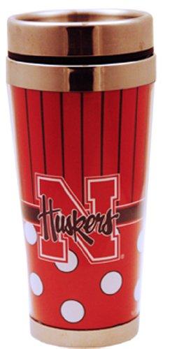 NCAA Nebraska Cornhuskers Polka Dot Travel Mug