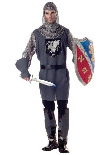[California Costumes Men's Valiant Knight Costume, Gray/Silver/Black, Medium] (Men Renaissance Costumes)