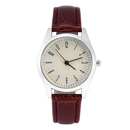 Brino Wristwatch, 2 Types Fashionable Women Analog Watch Female PU Band Alloy Case Wristwatch(Brown (Fashionable Pu Band)