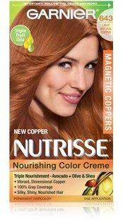 Garnier Nutrisse Crème Nourrissante Couleur Couleur de cheveux permanente, édition limitée Cuivres magnétiques, cuivre Lumière Naturelle 643 (pack de 2)