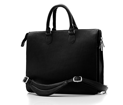 CUSTOM PERSONALIZED INITIALS ENGRAVING Muiska Leather Womens 15'' Laptop Computer Double Handle Top Zippered Slim Business Tote Bag with Shoulder Strap, Black by Muiska