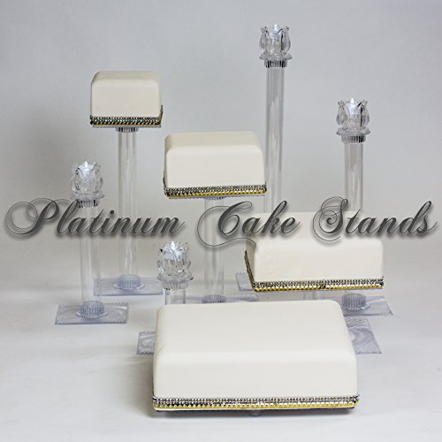 4 Tier Cascade (5 TIER SQUARE CASCADE WEDDING CAKE STAND WITH 4 CANDLE SET (SQ526))