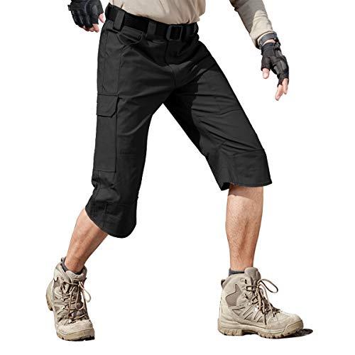 FREE SOLDIER Men's Capri Shorts Pants Casual 3/4 Water Resistant Work Short Multi Pockets Tactical Cargo Shorts (Black, W38)