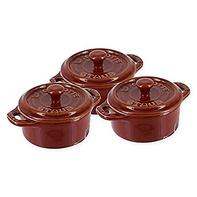 Staub Mini Round Cocottes in Rustic Red | Set of 3