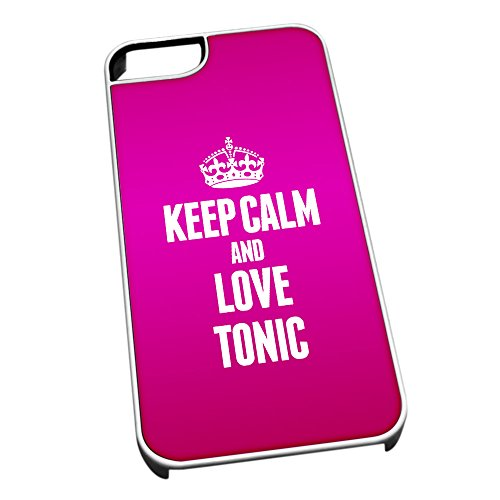 Bianco cover per iPhone 5/5S 1621Pink Keep Calm and Love Tonic