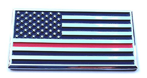Thin Red Line American Flag Firefighter Decal Sticker Emblem Chrome Metal for Auto Truck (Firefighter Auto)