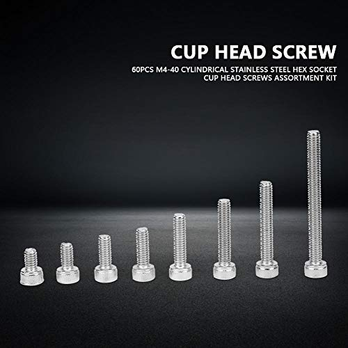 ネジ、60本のネジの品揃えキット、M4-40円筒形ステンレス鋼六角ソケットカップ頭ネジの品揃え、高強度と硬度