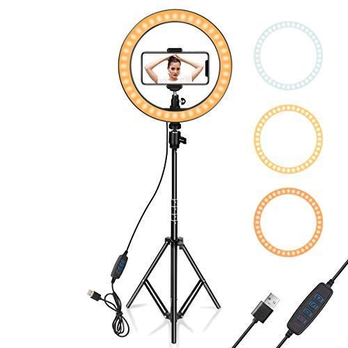 BRAND SUN 10-inch Selfie Ring LED Light with Tripod Stand and Cell Phone Holder and 10 Level Light Brightness for Live Stream/Makeup/YouTube/Photography/Tiktok Videos for All Smart Phones