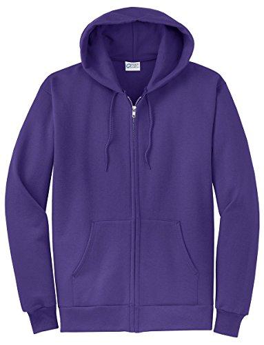Port & Company Men's Classic Full Zip Hooded Sweatshirt L Purple