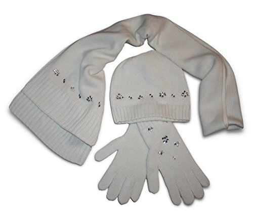 Banana Republic Women's 3-Piece Embellished Scarf - Hat - Gloves Set (Ivory-White) (Banana Republic Scarves)