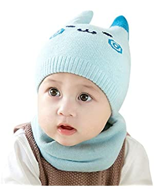 2PCS/Set Cute Cartoon Face Pattern Newborn Baby Cap + Neck Warmer Gaiter Suit Knitted Hat and Scarf Set