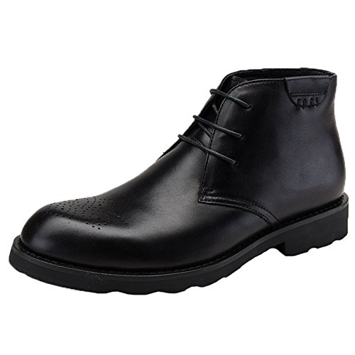 Santimon Mens Stivali In Pelle Brogue Tacco Alto Stringate Oxford Scarpe Nere