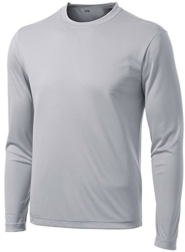 (DRI-EQUIP Long Sleeve Moisture Wicking Athletic Shirt-X-Large-Silver)