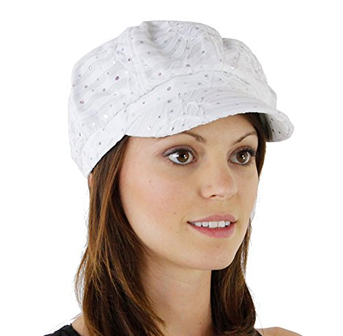 Sequin Newsboy Hat Cap - Glitter Sequin Trim Newsboy Style Relaxed Fit Cap, White ,One Size