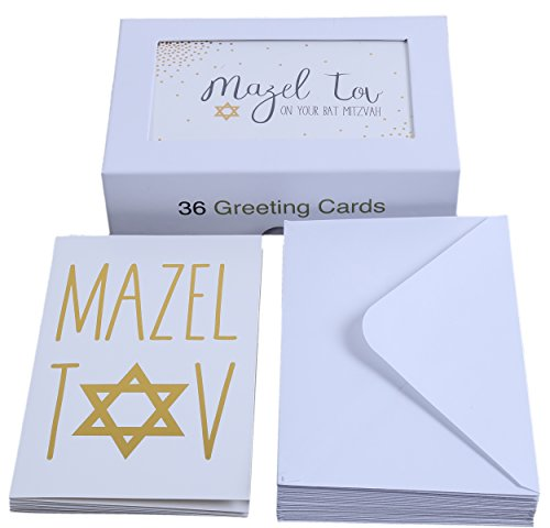 "Assorted Designer Jewish Greeting Cards - Bat Mitzvah, Bar Mitzvah, and Mazel Tov - Includes 8 Gold Foil Designs with Star of David Embellishment - Box Set - Includes 36 Cards & Envelopes - 4"" x 6"""