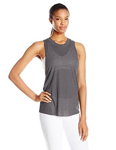 Alo Yoga Women's Heat Wave Tank, Dark Grey Heather, -