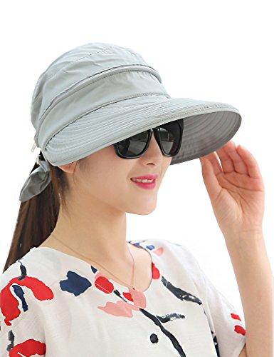 Lujuny Removable Crown Sun Hat - 2 in 1 Zipper UV Protection Visor Big Brim Summer Cap for Travel Hiking Safari Golf Gardening Fishing (Gray)