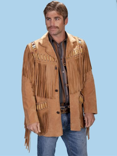 Boar Suede Jacket (Scully Leather Mens Boar Suede Fringe Mountain Main Jacket Bourbon 42L)