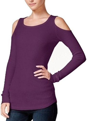Chelsea Sky Womens Waffle Knit Cold Shoulder Thermal Top Purple S ()