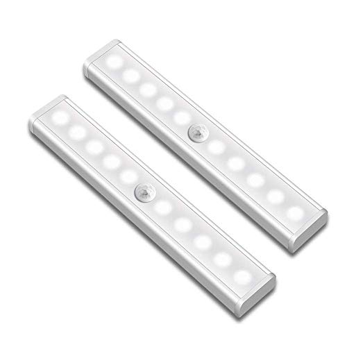 Motion Sensor Closet Lights Targherle Under Cabinet Light Wireless Portable 2 Pack 10-LED Stick-on Anywhere Night Light for Wardrobe Stairs Step Kitchen Hallway with Magnetic Strip (Battery Operated)