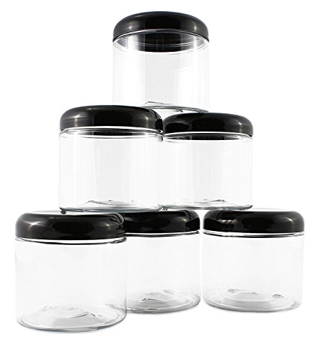 16oz Clear Plastic Jars with Black Plastic Lids (6 pack); BPA Free PET Stackable Straight Sided Canisters for Bathroom & Kitchen Storage of Dry Goods, Creams and More