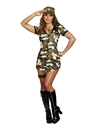 Army Woman Costume (Dreamgirl Women's Booty Camp, Multi, XL)
