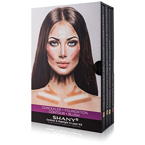 SHANY 4-Layer Contour and Highlight Makeup Kit – Set of Concealer/Color Corrector, Foundation, Contour/Highlight, and Blush Palettes