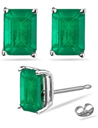 1.83-2.25 Cts of 7x5 mm AA Emerald Cut Natural Emerald Stud Earrings in 18K White Gold