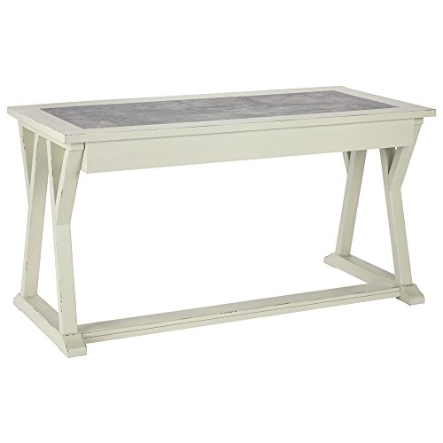 Ashley Furniture Signature Design - Jonileene Home Office Large Desk - 3 Drawers - Distressed White Finish - Faux Cement Top - Dark Gray - Ashley Desk Computer