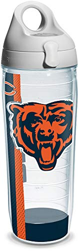 Tervis 1104641 NFL Chicago Bears Wrap Individual Water Bottle with Gray lid, 24 oz, Clear -