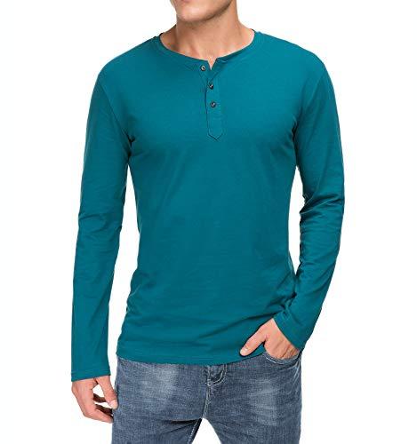 Boisouey Men's Casual Slim Fit Short Sleeve Henley T-Shirts Cotton Shirts Blackishgree M Blackishgreen
