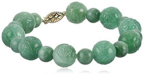 14k Yellow Gold Green Jade Carved Bead Strand Bracelet (14k Gold Bead Bracelets)