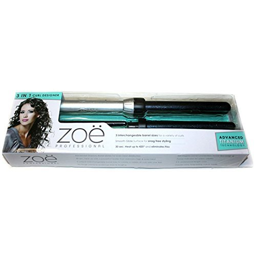 Zoe Professional 3-in-1 Hair Curler Advanced Titanium Technology Designer Curling Iron Wand